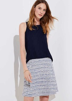 LOFT Petite Striped Tweed Pocket Flippy Skirt