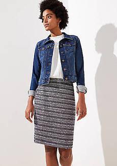 LOFT Petite Striped Tweed Pencil Skirt