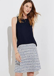 LOFT Petite Striped Tweed Pocket Flippy Skirt
