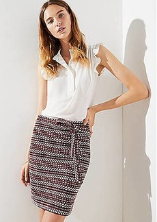 LOFT Petite Striped Tweed Tie Waist Skirt