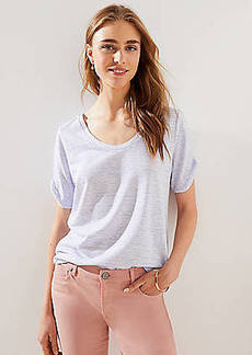 LOFT Petite Striped Twist Sleeve Tee