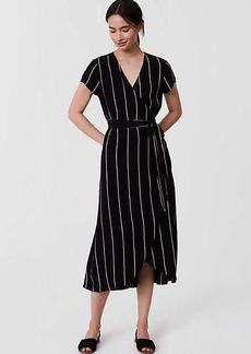 LOFT Petite Pinstriped Wrap Dress