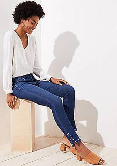 LOFT Petite Studded Cuff Skinny Jeans in Rich Dark Indigo Wash