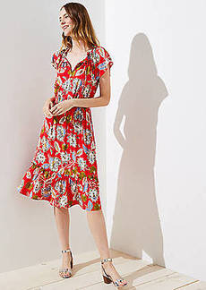 LOFT Petite Summer Blossom Tie Neck Flounce Dress