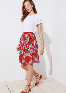 LOFT Petite Summer Blossom Tie Waist Midi Skirt