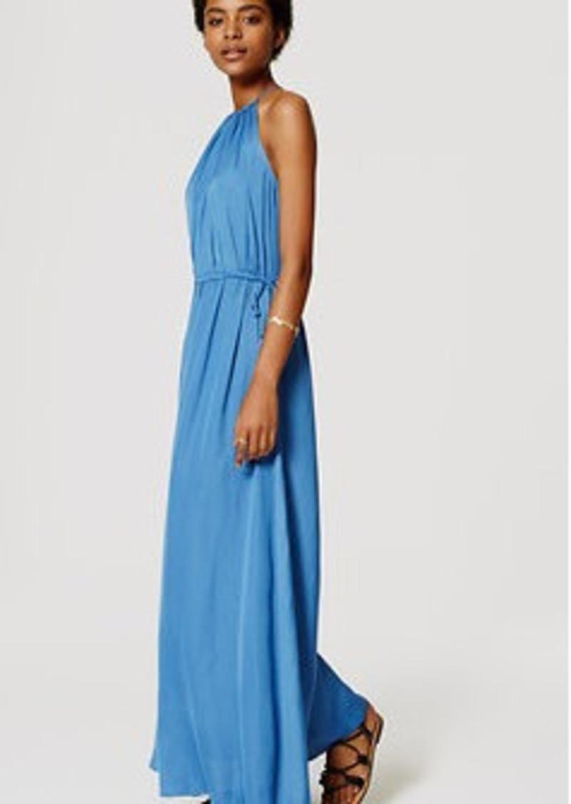 LOFT Petite Tasseled Halter Maxi Dress