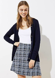 LOFT Petite Textured Plaid Pull On Flippy Skirt