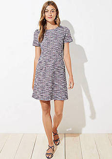 LOFT Petite Textured Puff Sleeve Flare Dress