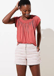 LOFT Petite Textured Stripe Shorts