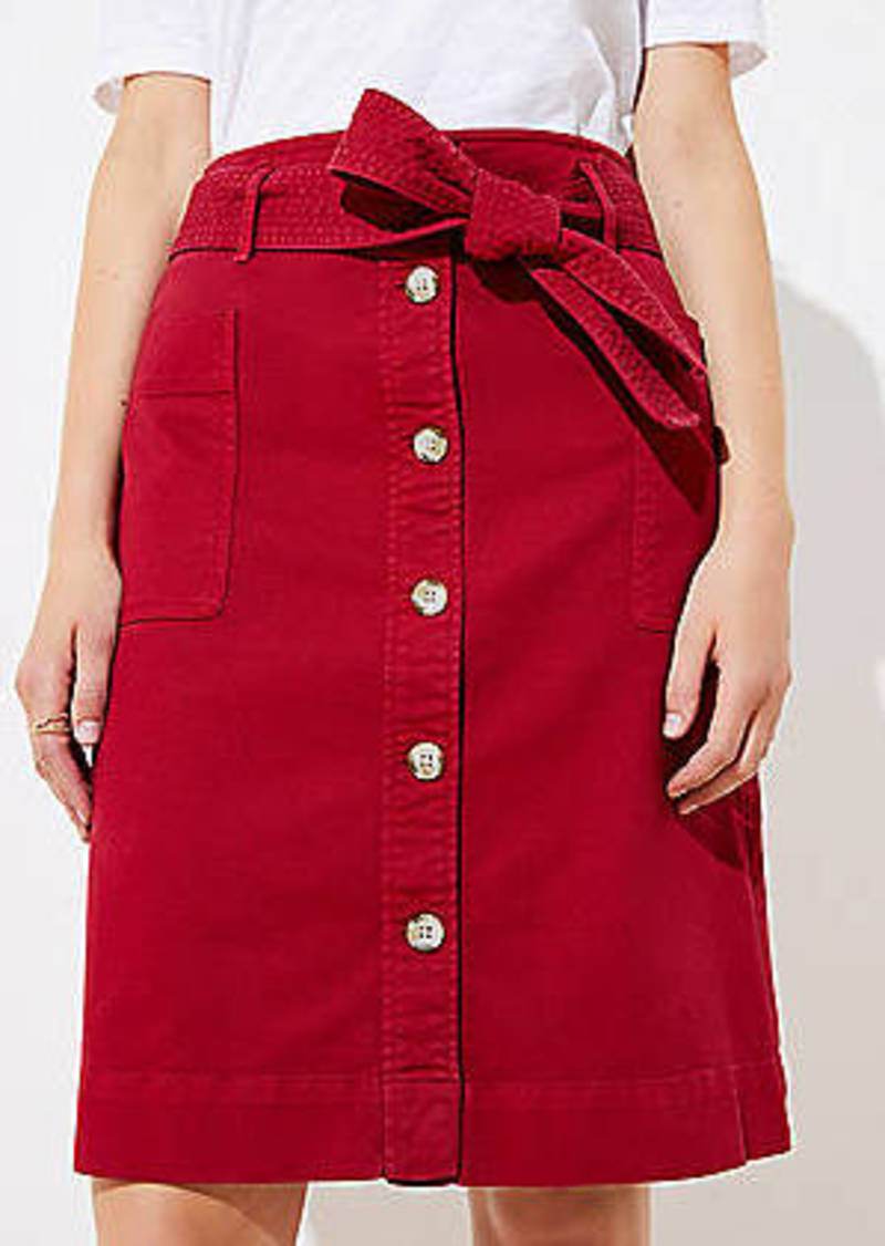 LOFT Petite Tie Waist Button Front Skirt