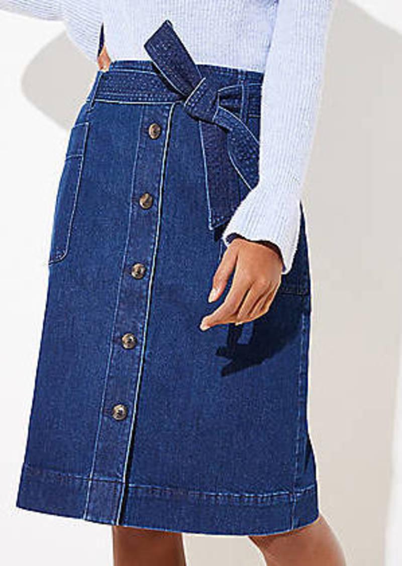 LOFT Petite Tie Waist Denim Skirt