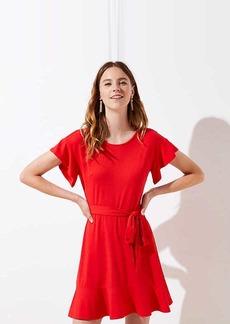 LOFT Petite Tie Waist Flounce Dress