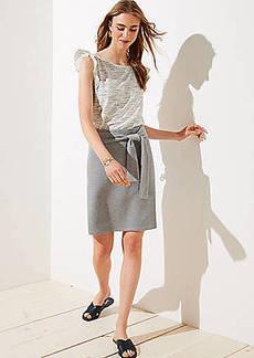 LOFT Petite Tie Waist Knit Pencil Skirt