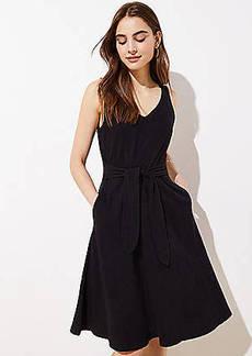 LOFT Petite Tie Waist Midi Flare Dress