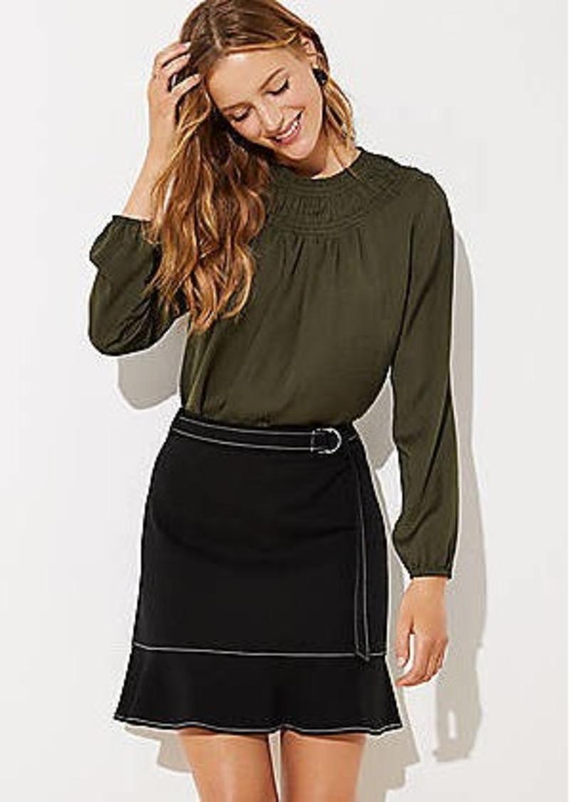 LOFT Petite Tie Waist Ponte Flippy Skirt