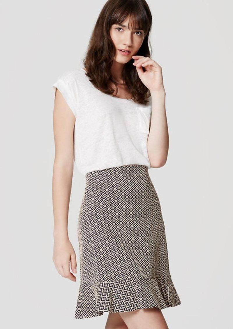 LOFT Petite Tile Jacquard Flounce Skirt