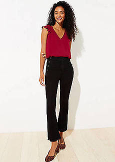 LOFT Petite Sailor Crop Flare Jeans in Black