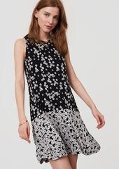 LOFT Petite Tossed Floral Flounce Dress