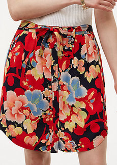 Petite Tropic Tie Waist Button Skirt