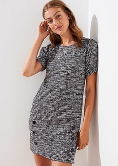 LOFT Petite Tweed Buttoned Shift Dress