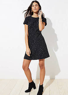 LOFT Petite Tweed Flare Dress