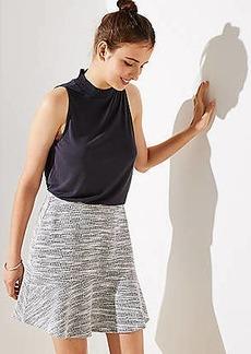 LOFT Petite Tweed Flounce Pull On Skirt