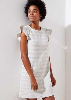 LOFT Petite Tweed Knit Flutter Dress