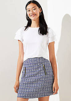 LOFT Petite Tweed Zip Pocket Shift Skirt