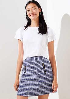 LOFT Petite Tweed Zip Pocket Shift Skirt