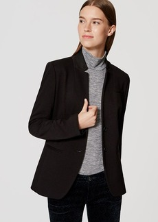Petite Two Button Knit Notched Blazer