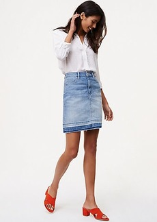 Petite Unpicked Denim Shift Skirt