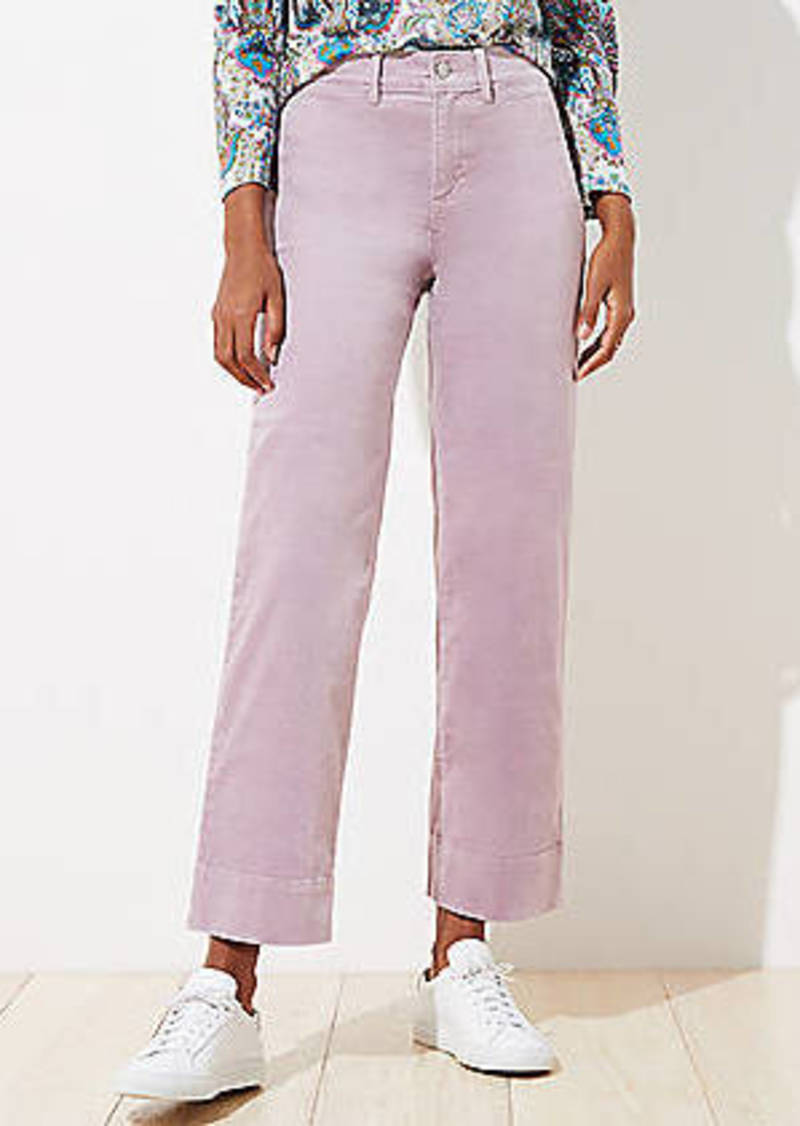 LOFT Petite Velvet High Waist Slim Wide Leg Pants