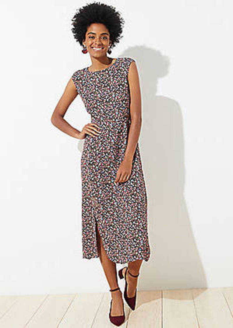 LOFT Petite Vine Cap Sleeve Midi Dress