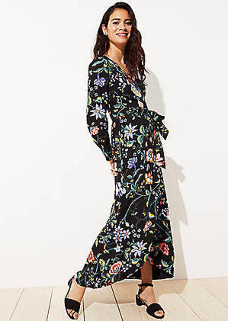 LOFT Petite Vine Maxi Wrap Dress