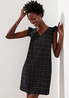 LOFT Petite Windowpane Flutter Shift Dress