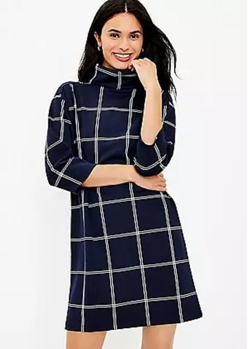 LOFT Petite Windowpane Funnel Neck Tunic Dress