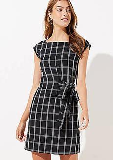 LOFT Petite Windowpane Side Tie Dress
