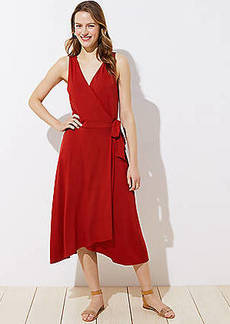 LOFT Petite Midi Wrap Dress