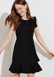LOFT Petite Wraparound Flounce Flare Dress