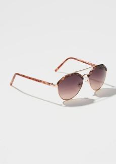 LOFT Tortoiseshell Print Retro Aviator Sunglasses