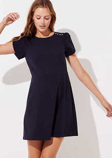 LOFT Pinstriped Shoulder Button Dress