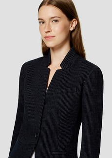 Pinstripe Knit Notched Blazer
