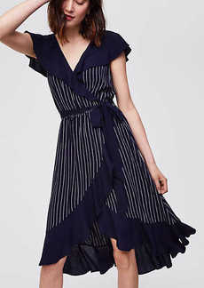 Pinstripe Ruffle Wrap Dress