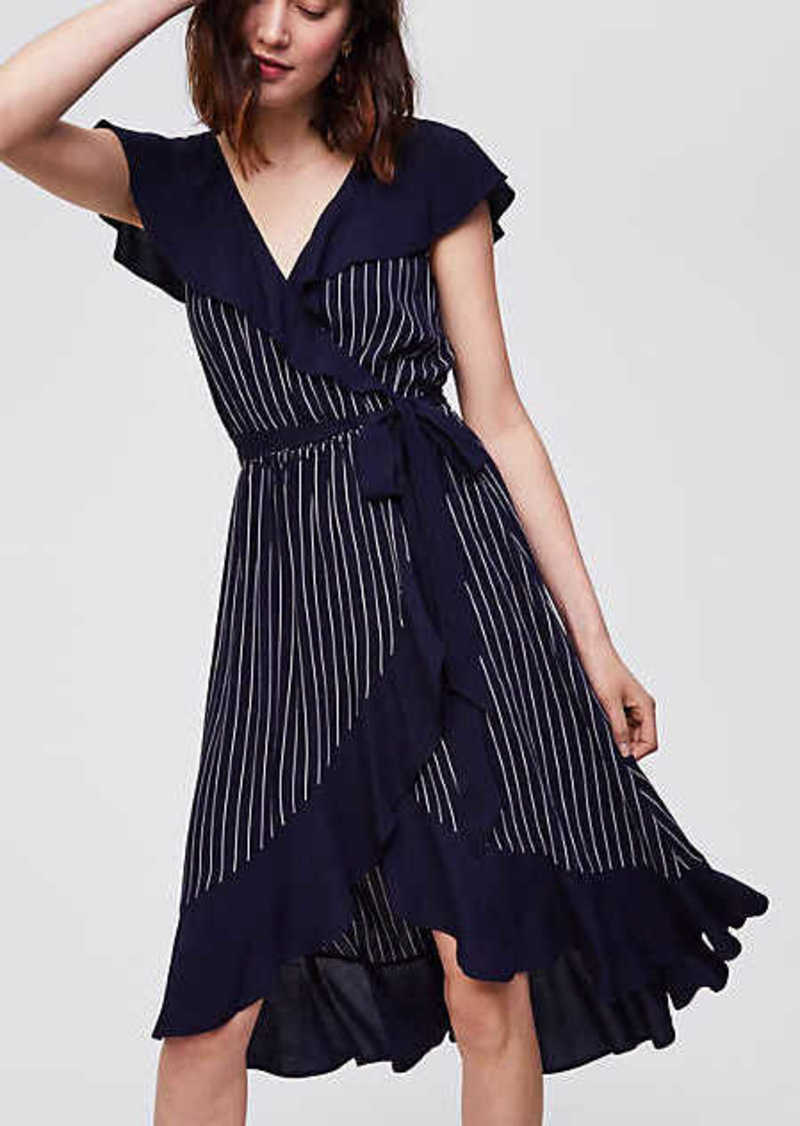 LOFT Pinstripe Ruffle Wrap Dress