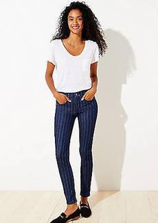 LOFT Pinstripe Skinny Jeans in Dark Rinse Wash