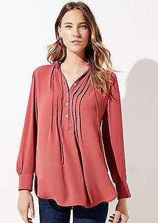 LOFT Pintucked Tie Neck Tunic Blouse