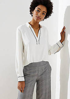 LOFT Piped Collar Split Neck Blouse