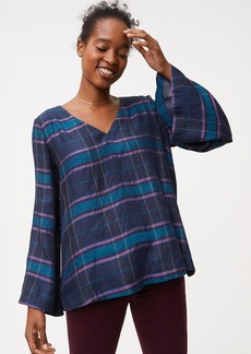 LOFT Plaid Bar Back Bell Sleeve Top
