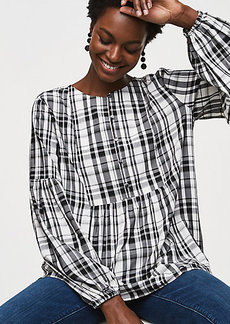 Plaid Blouson Henley Top