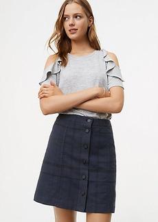 LOFT Plaid Button Front Skirt